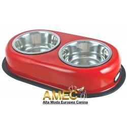 SET OF RED BOWL DOGS