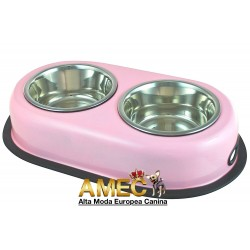 SET OF PINK BOWL DOGS