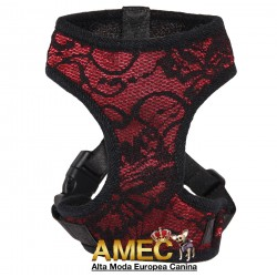 DOG HARNESS RED LACE