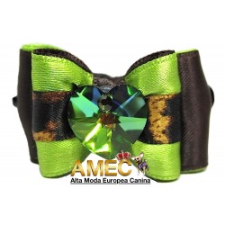 GREEN HEART DOG BOW