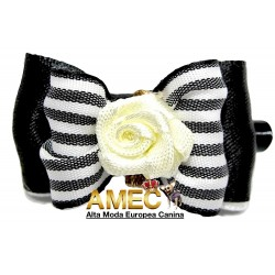 BLACK STRIPE BOW DOUBLE