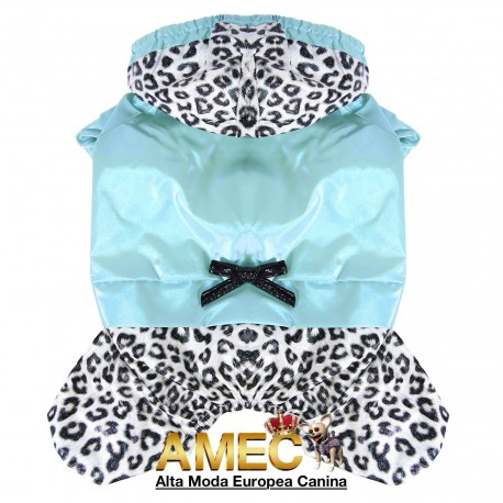 TURQUOISE AND LEOPARD RAINCOAT