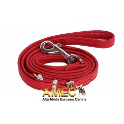 LEATHER DOG LEASH RED