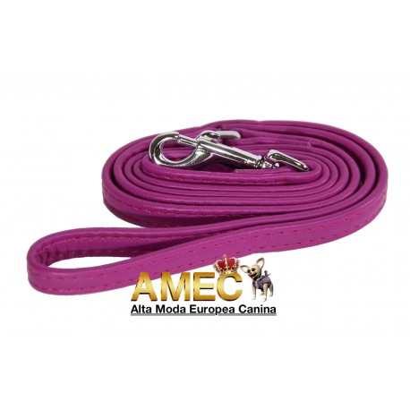 LEATHER DOG LEASH FUCHSIA